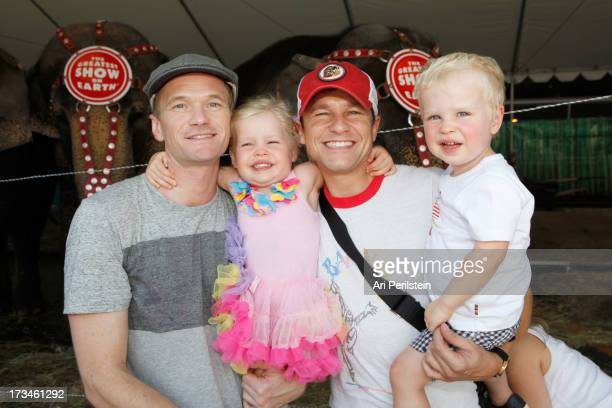 Actor Neil Patrick Harris David Burtka and family attend Ringling Bros and Barnum Bailey Circus presents Built To Amaze at Staples Center on July 14...