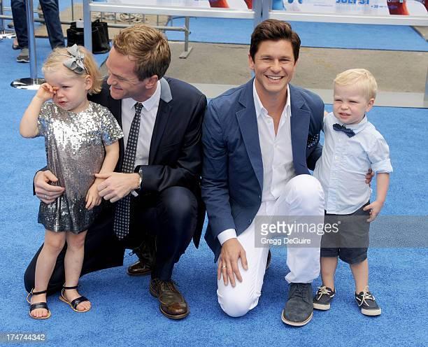"Actor Neil Patrick Harris, David Burtka and kids Harper Grace and Gideon Scott arrive at the Los Angeles premiere of ""Smurfs 2"" at Regency Village..."