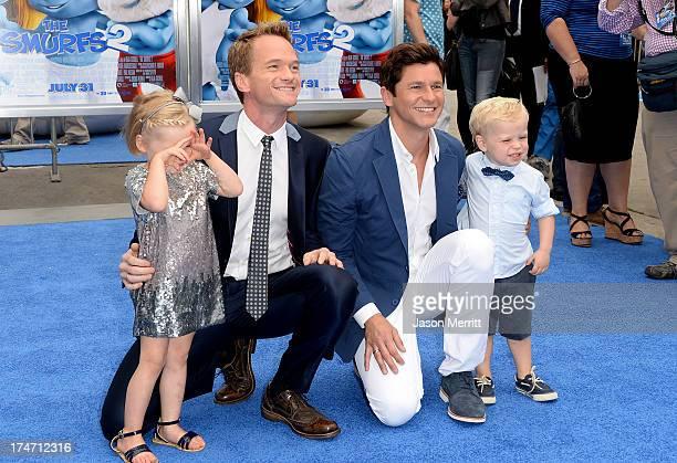 Actor Neil Patrick Harris David Burtka Harper Grace BurtkaHarris and Gideon Scott BurtkaHarris attends the premiere of Columbia Pictures' Smurfs 2 at...