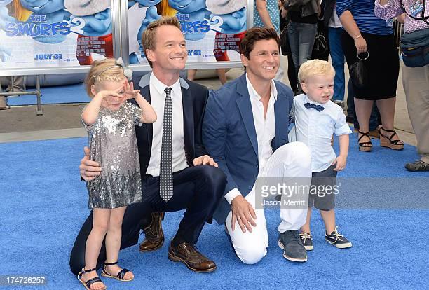 Actor Neil Patrick Harris David Burtka Harper Grace BurtkaHarris and Gideon Scott BurtkaHarris attend the premiere of Columbia Pictures' Smurfs 2 at...