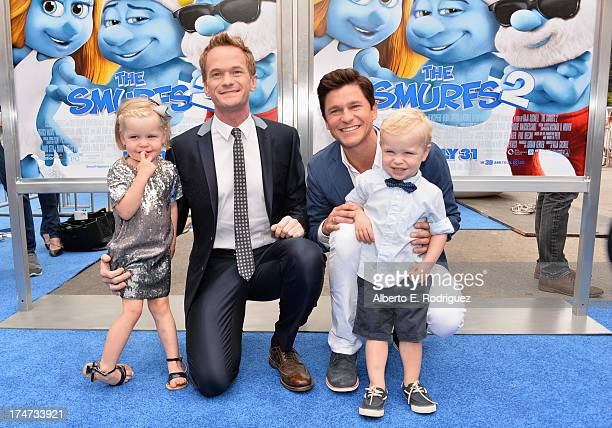 Actor Neil Patrick Harris David Burtka Harper Grace BurtkaHarris and Gideon Scott BurtkaHarris attend the premiere Of Columbia Pictures' Smurfs 2 at...