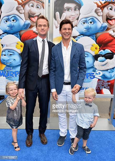 Actor Neil Patrick Harris , David Burtka , Harper Grace Burtka-Harris , and Gideon Scott Burtka-Harris attend the premiere Of Columbia Pictures'...