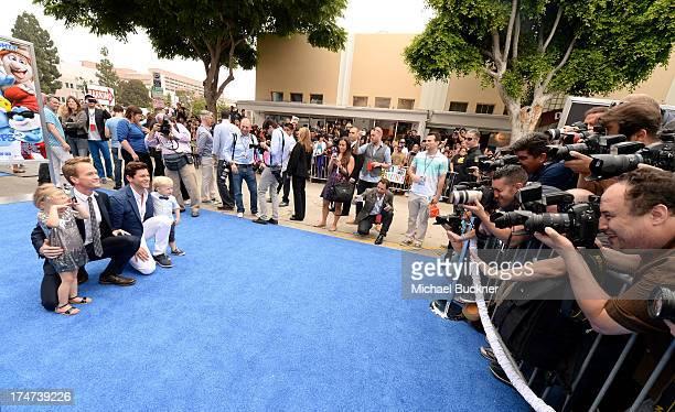 Actor Neil Patrick Harris David Burtka Harper Grace BurtkaHarris and Gideon Scott BurtkaHarris attends the Los Angeles premiere of The Smurfs 2 at...