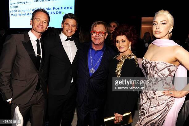Actor Neil Patrick Harris David Burtka musician Elton John TV personality Sharon Osbourne and singer Lady Gaga attend the 22nd Annual Elton John AIDS...