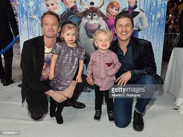 Actor Neil Patrick Harris Harper BurtkaHarris Gideon BurtkaHarris and David Burtka attend The World Premiere of Walt Disney Animation Studios' Frozen...