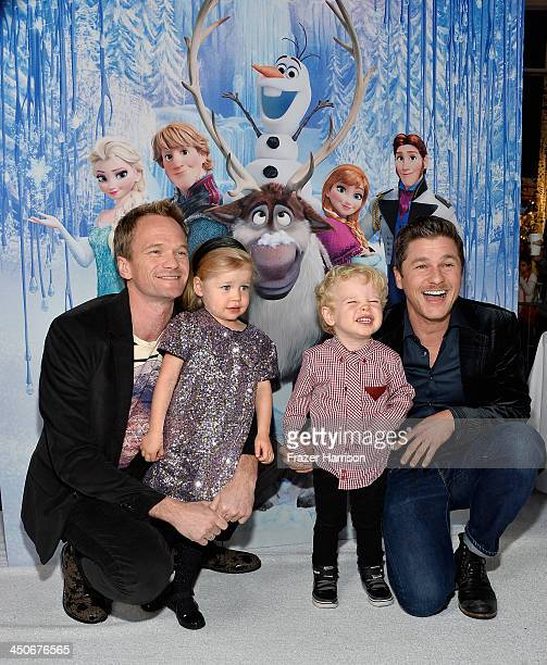 Actor Neil Patrick Harris, Harper Burtka-Harris, Gideon Burtka-Harris and David Burtka attend the premiere of Walt Disney Animation Studios'...