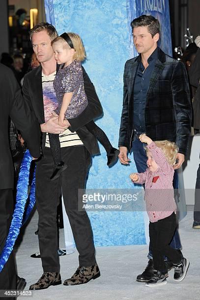 Actor Neil Patrick Harris Harper BurtkaHarris Gideon BurtkaHarris and David Burtka attend the Los Angeles premiere of Disney's Frozen at the El...