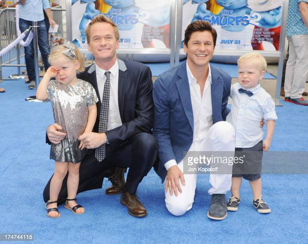 Actor Neil Patrick Harris partner David Burtka with their children Gideon BurtkaHarris and Harper BurtkaHarris arrive at the Los Angeles Premiere...