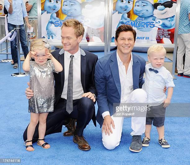 Actor Neil Patrick Harris partner David Burtka with their children Gideon BurtkaHarris and Harper BurtkaHarris arrive at the Los Angeles Premiere...