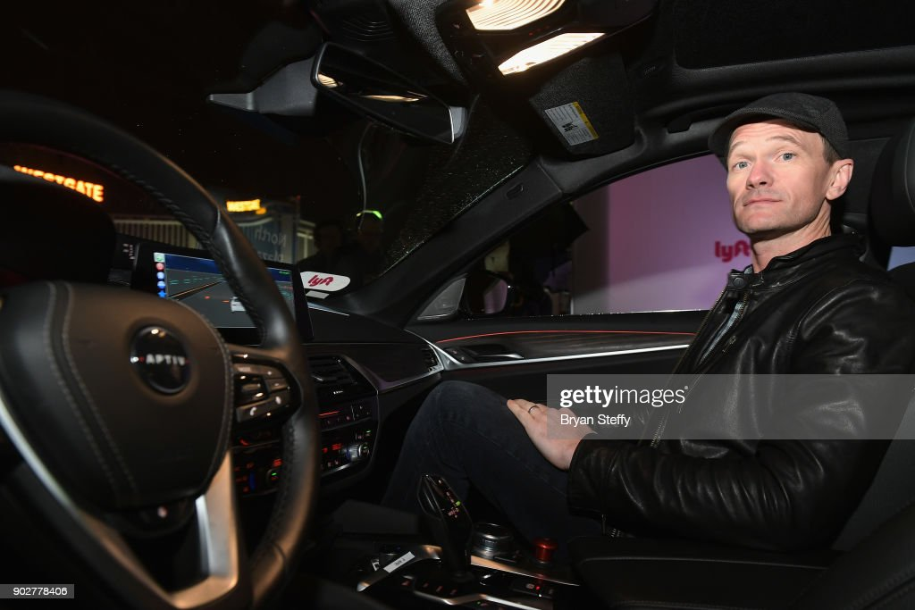 Actor Neil Patrick Harris rides in a Lyft and Aptiv self-driving car during CES 2018 at the Las Vegas Convention Center on January 8, 2018 in Las Vegas, Nevada.
