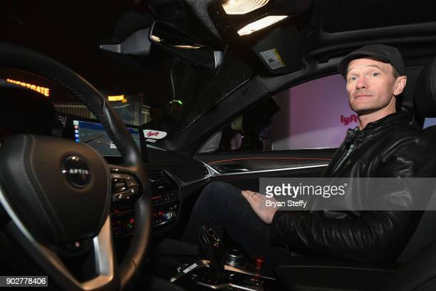 Actor Neil Patrick Harris rides in a Lyft and Aptiv selfdriving car during CES 2018 at the Las Vegas Convention Center on January 8 2018 in Las Vegas...