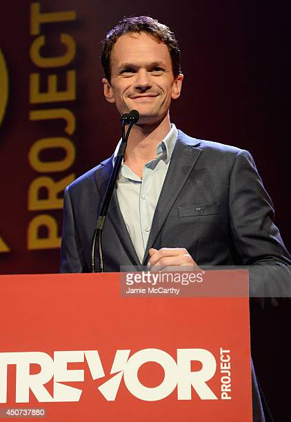Actor Neil Patrick Harris speaks onstage at the Trevor Project's 2014 'TrevorLIVE NY' Event at the Marriott Marquis Hotel on June 16 2014 in New York...