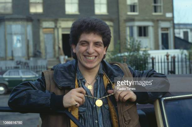 Actor Nejdet Salih pictured on the exterior set of the BBC soap opera 'EastEnders', December 14th 1984.