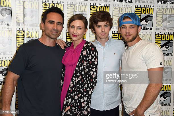 Actor Nestor Carbonell Vera Farmiga Freddie Highmore and Max Thieriot attend the Bates Motel press line at Hilton Bayfront on July 22 2016 in San...