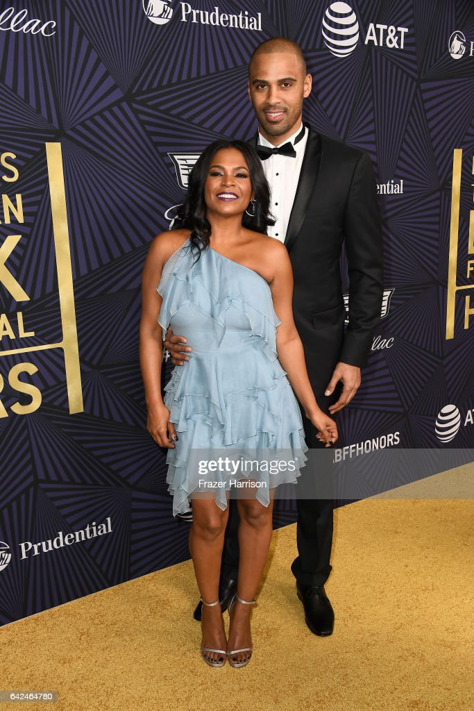 Actor Nia Long (L) and Ime Udoka attend BET Presents the American Black Film Festival Honors on February 17, 2017 in Beverly Hills, California.