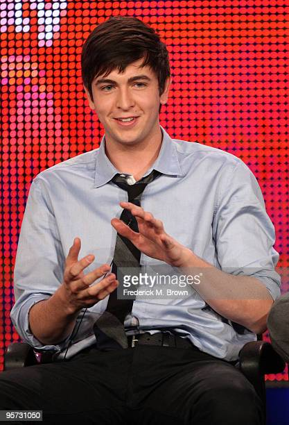 Actor Nicholas Braun speaks onstage at the ABC '10 Things I Hate About You' QA portion of the 2010 Winter TCA Tour day 4 at the Langham Hotel on...