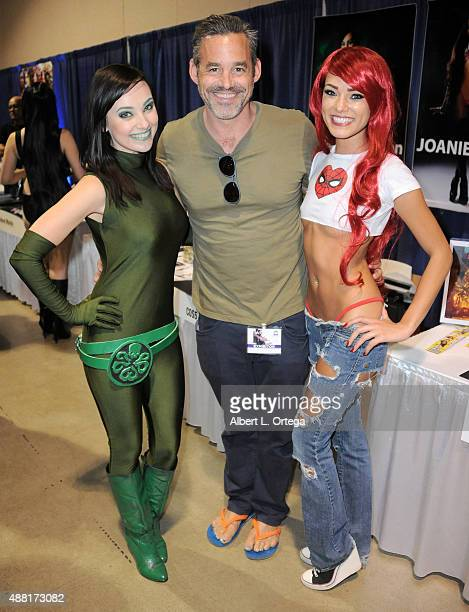 Actor Nicholas Brendon with cosplayers Megan Golden and Joanie Brosas at the Long Beach ComicCon 2015 held at Long Beach Convention Center on...