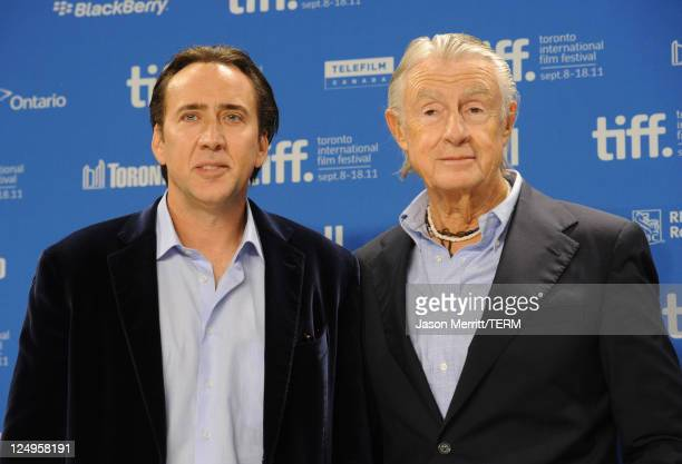 Actor Nicholas Cage and director Joel Schumacher speak at Trespass press conference during the 2011 Toronto International Film Festival at the TIFF...
