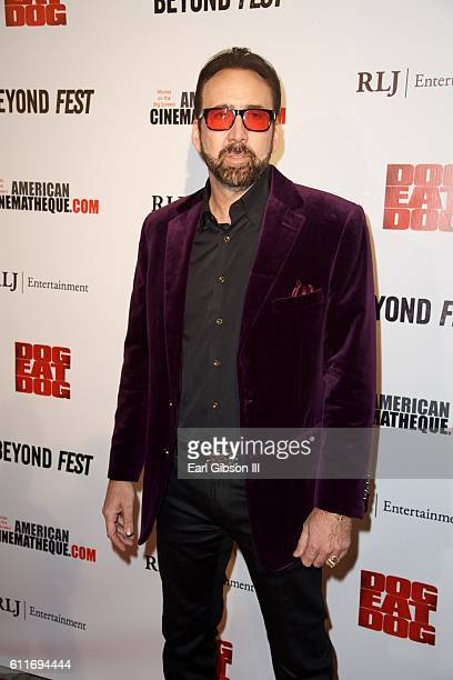 Actor Nicholas Cage attends the Premiere Of RLJ Entertainment's Dog Eat Dog at The Egyptian Theatre on September 30 2016 in Los Angeles California