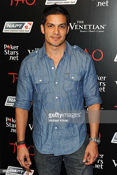 Actor Nicholas Gonzalez attends the Pokerstarsnet after party with performance by TPain at TAO Nightclub at the Venetian on February 19 2010 in Las...