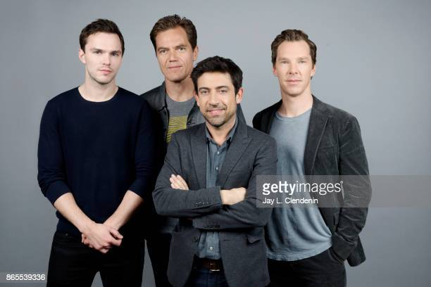 Actor Nicholas Hoult actor Michael Shannon director Alfonso GomezRejon and actor Benedict Cumberbatch from the film The Current War pose for a...