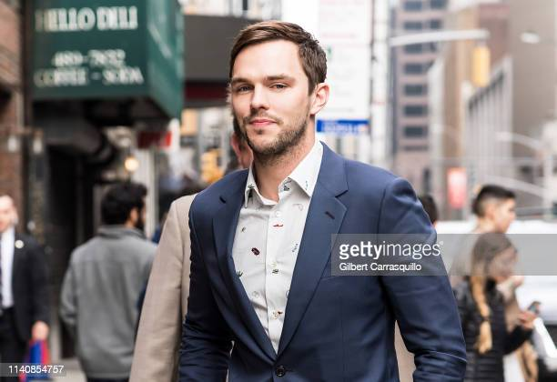 Actor Nicholas Hoult is seen arriving at 'The Late Show With Stephen Colbert' at the Ed Sullivan Theater on May 2 2019 in New York City