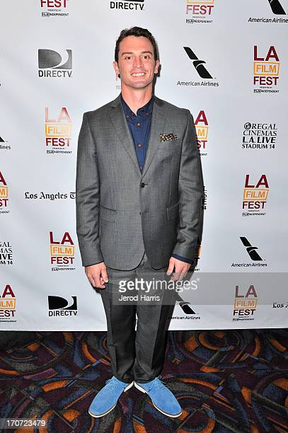 Actor Nicholas Tucci arrives at the You're Next premiere during the 2013 Los Angeles Film Festival at American Airlines Theater on June 16 2013 in...