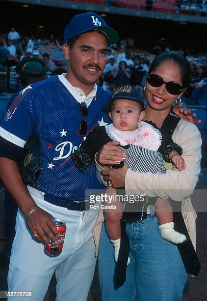 Actor Nicholas Turturro wife Lissa Espinosa and daughter attending Hollywood Stars Night Baseball Game on August 16 1997 at Dodger Stadium in Los...