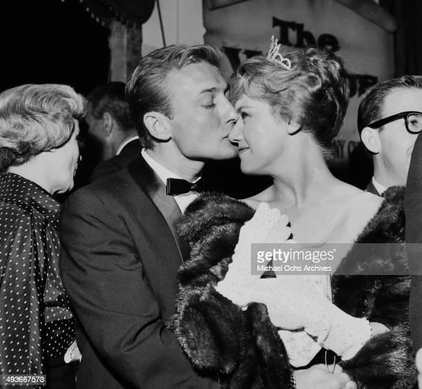 Actor Nick Adams and Kathy Nolan pose in Los Angeles California