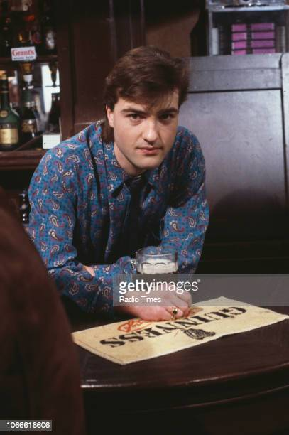 Actor Nick Berry pictured on the Queen Victoria pub set of the BBC soap opera 'EastEnders' January 10th 1985