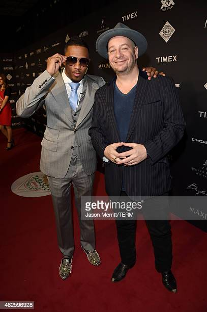 Actor Nick Cannon and comedian Jeffrey Ross attend the Maxim Party with Johnnie Walker Timex Dodge Hugo Boss Dos Equis Buffalo Jeans Tabasco and...