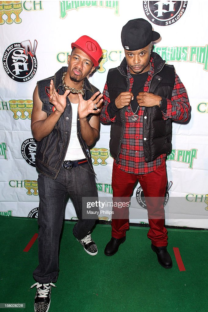 Actor Nick Cannon and DJ D Wrek attend The Official International Players Ball 2012 and birthday celebration for Arch Bishop Don Magic Juan at Key Club on December 8, 2012 in West Hollywood, California.