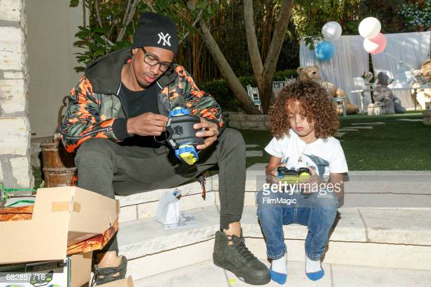 Actor Nick Cannon and Moroccan Scott Cannon attend the Moroccan Scott Cannon and Monroe Cannon Party on Mary 13 in Los Angeles California