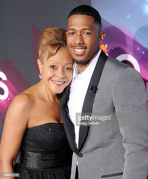 Actor Nick Cannon and mother Beth Hackett arrive at the TeenNick HALO Awards at The Hollywood Palladium on November 17 2012 in Los Angeles California