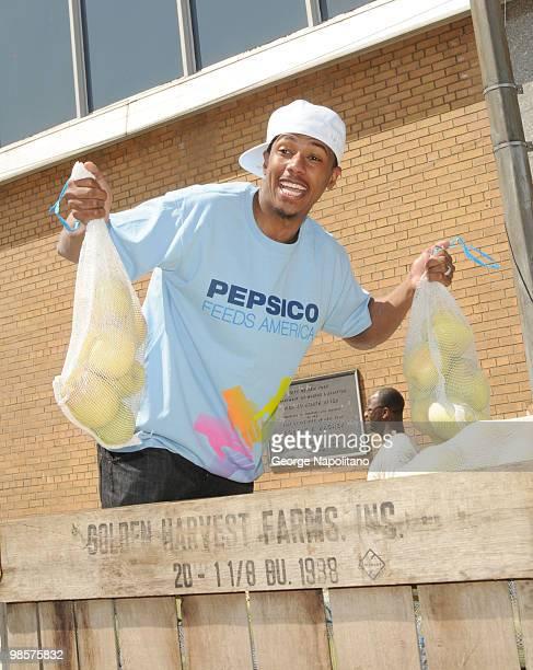 Actor Nick Cannon attends Nick Cannon, PepsiCo & Feeding America day of service at City Harvest at Pier 40 on April 20, 2010 in New YorkCity.