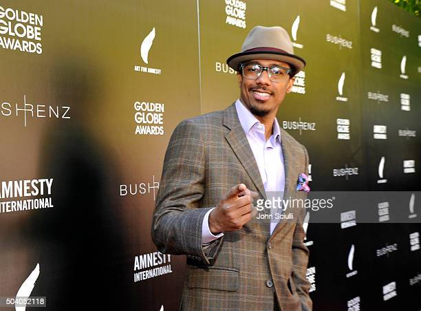 Actor Nick Cannon attends the Art For Amnesty PreGolden Globes Recognition Brunch at Chateau Marmont on January 8 2016 in Los Angeles California