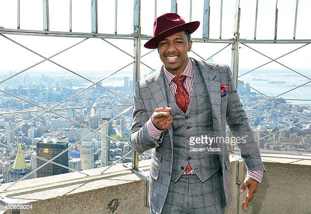 Actor Nick Cannon lights The Empire State Building blue in celebration of St Mary's Healthcare System for Children at The Empire State Building on...