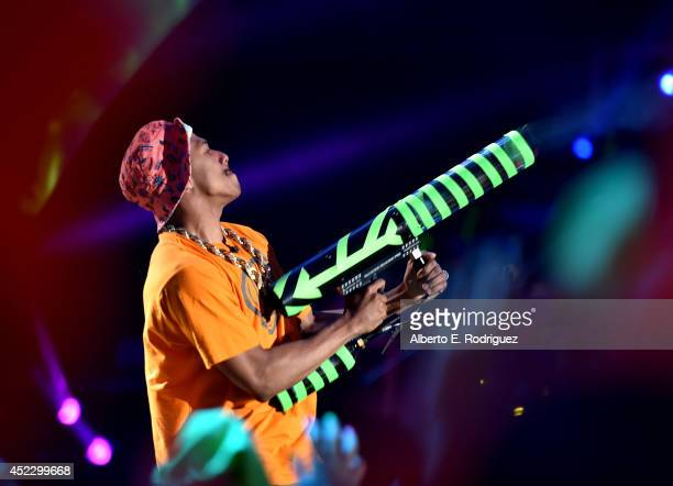 Actor Nick Cannon performs onstage during Nickelodeon Kids' Choice Sports Awards 2014 at UCLA's Pauley Pavilion on July 17 2014 in Los Angeles...