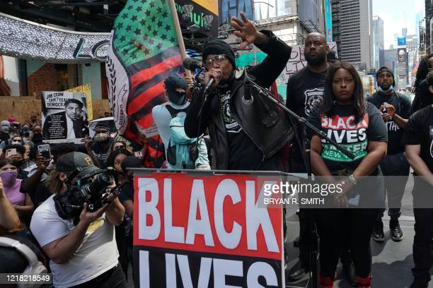 US actor Nick Cannon speaks as he joins a Black Lives Matter protest in Times Square over the death of George Floyd by a Minneapolis police officer...
