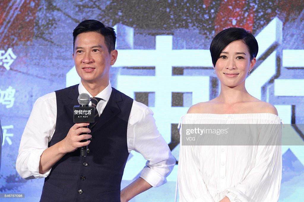 Actor Nick Cheung and actress Charmaine Sheh attend a press conference for movie version 'Line Walker' on July 12, 2016 in Beijing, China.