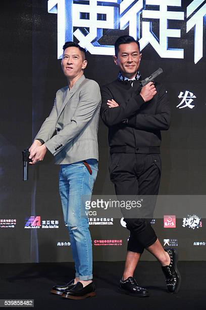 Actor Nick Cheung Kafai and actor Louis Koo attend the press conference of director Jazz Boon's film 'Line Walker' during the 19th Shanghai...