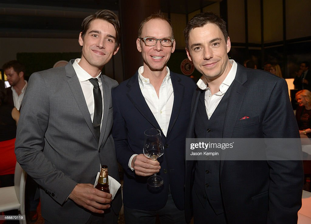 Actor Nick Clifford, co-CEO of Chipotle Steve Ells and actor John Sloan celebrate the world premiere of 'Farmed and Dangerous,' a Chipotle/Piro production at DGA Theater on February 11, 2014 in Los Angeles, California.