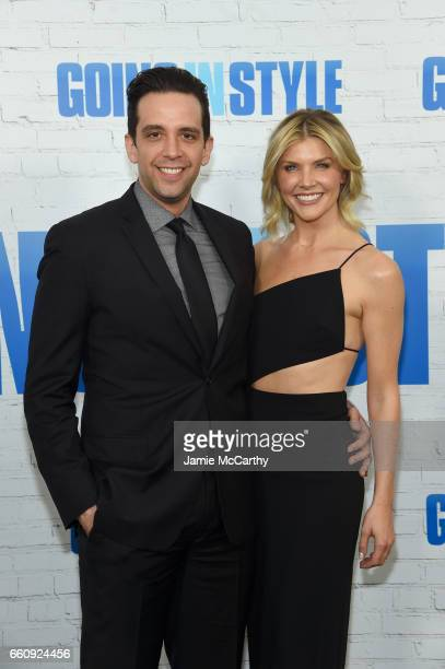 Actor Nick Cordero and Amanda Kloots attend the Going In Style New York Premiere at SVA Theatre on March 30 2017 in New York City