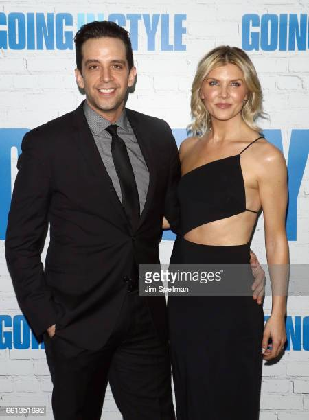 Actor Nick Cordero and Amanda Kloots attends the Going In Style New York premiere at SVA Theatre on March 30 2017 in New York City