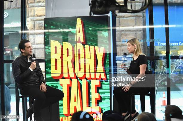 Actor Nick Cordero and moderator Laura Heywood attend the Build Series to discuss his starring role as Sonny in the Broadway show 'A Bronx Tale' at...