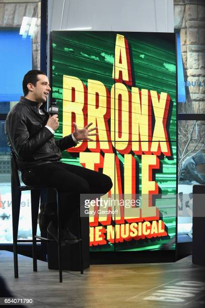 Actor Nick Cordero attends the Build Series to discuss his starring role as Sonny in the Broadway show 'A Bronx Tale' at Build Studio on March 16...