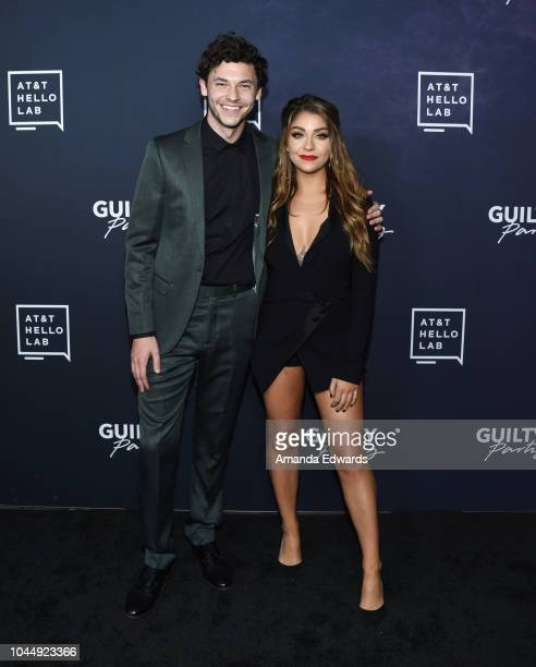 Actor Nick Fink and actress Andrea Russett arrive at the ATT Hello Lab's 'Guilty Party History Of Lying' Season 2 Premiere at the ArcLight Hollywood...