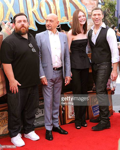 Actor Nick Frost actor Ben Kingsley actress Elle Fanning and producer Travis Knight attend the premiere of 'The Boxtrolls' at Universal CityWalk on...