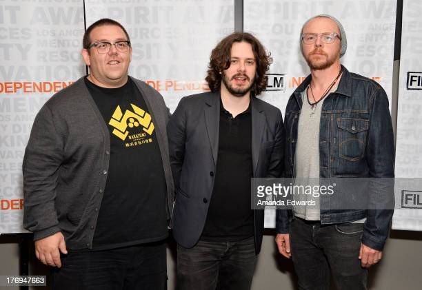 Actor Nick Frost director Edgar Wright and actor Simon Pegg attend the Film Independent screening and QA of 'The World's End' at the Landmark Theater...