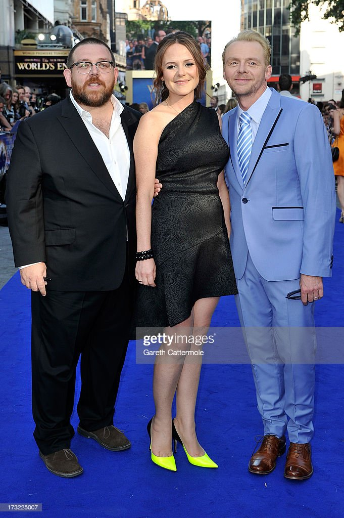 Actor Nick Frost, Producer Nira Park and actor Simon Pegg attend the World Premiere of The World's End at Empire Leicester Square on July 10, 2013 in London, England.